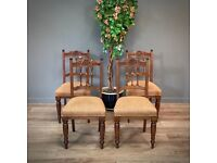 Lovely Set Of Four Antique Carved Oak Upholstered Dining Chairs