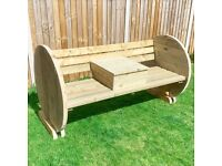Wooden Garden Bench with Back and Circle Sides/ 6ft / Outdoor Furniture / FREE delivery Norwich