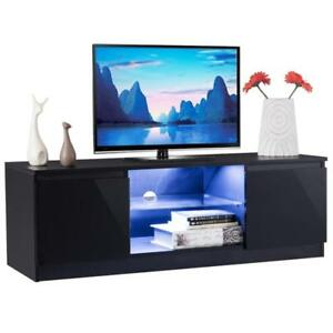 High Gloss TV Stand Unit Cabinet Media Console Furniture w/ LED Shelves Black - BRAND NEW - FREE SHIPPING