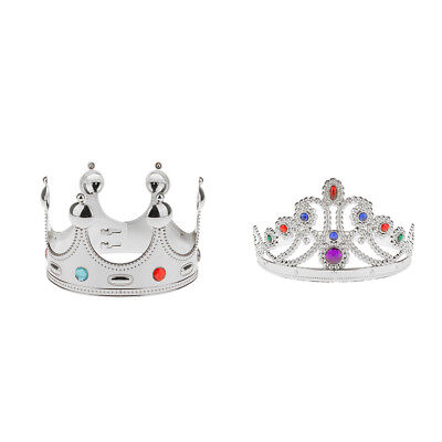 2pcs King Queen Princess Crown Fancy Dress Wedding Birthday Prom Costume Hat - Costume King Crowns