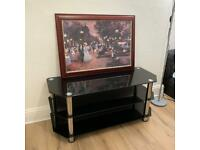 """Tv stand Glass TV Stand 114cm, Chrome Legs, Black Glass, for TVs up to 55"""""""