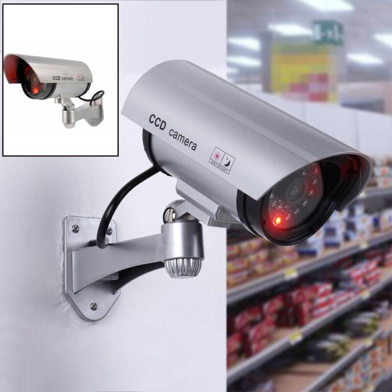 Waterproof Dummy CCTV Camera Surveillance Security Fake Cam Red Flash LED