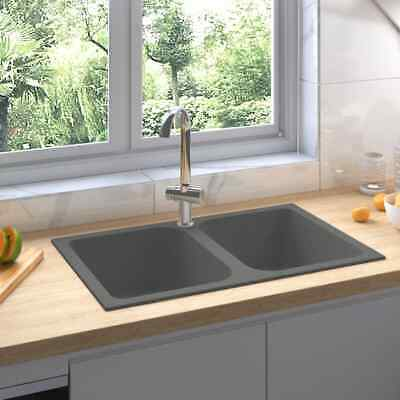 vidaXL Fregadero de Cocina Doble Seno con Rebosadero Granito Gris Decoración