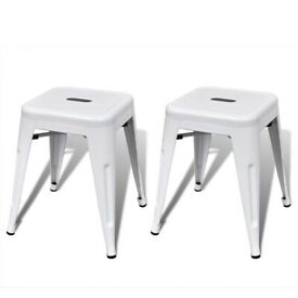 Stacking Stools 2 pcs White Metal-241536