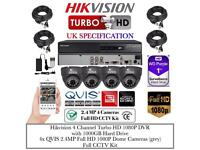 4 Cameras Turbo-HD CCTV KIT, 4CH HikVision Turbo-HD DVR, 4x QVIS Full HD 1080P 2.4MP Dome Cameras
