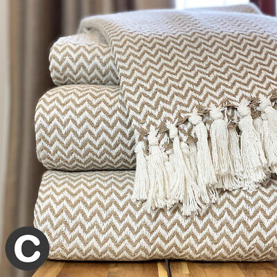 Luxury 100% Cotton Beige Linen / White Herringbone Large Sofa Bed Throw Blanket