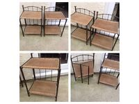 VERY UNUSUAL PAIR OF BEDSIDE FOLDING WROUGHT IRON SHABBY CHIC 2 X BEDSIDE CABINETS 2 X PLANTSTANDS