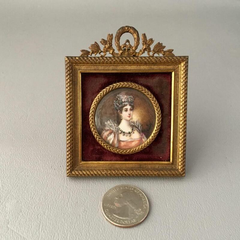 ANTIQUE FRENCH HAND PAINTED MINIATURE PORTRAIT PAINTING w BRONZE FRAME SIGNED