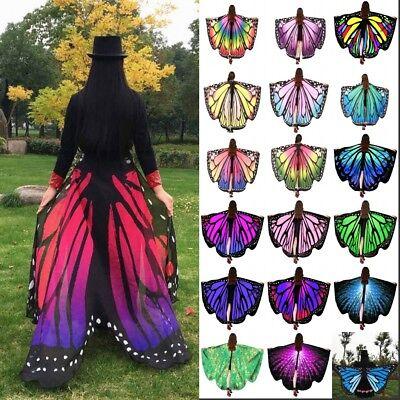 Women Girl Long Butterfly Wings Fairy Cape Scarf Scarves Wrap Fancy Print Shawl