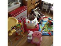 High Chair/Baby Walker/Baby Playmat/Seatting Chair/Car seat Bundle sale