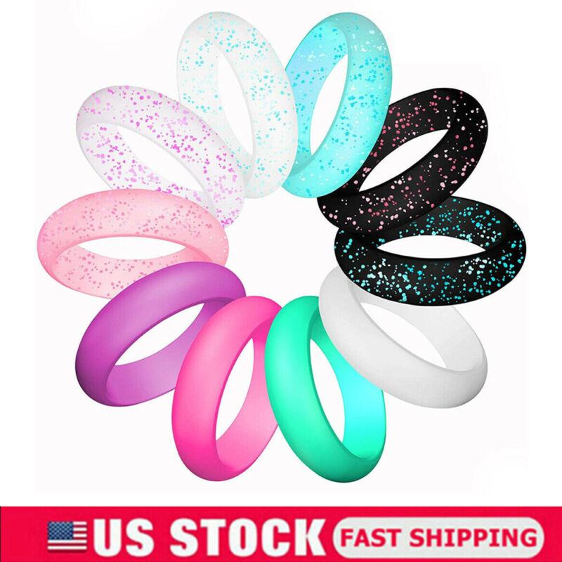10 Pcs Women Girls Silicone Wedding Ring Rubber Band Modern Durable Comfortable