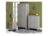 NEW Classic 3 Piece Lancaster Bedroom Set Grey with Oak Effect Tops Wardrobe Drawer Chest Bedside