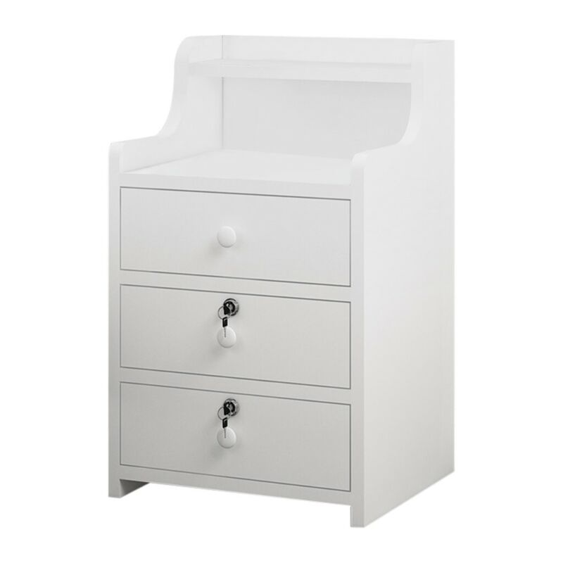 White 3 Drawers Wood Nightstand Storage End Table Bedroom St