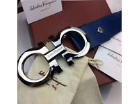 Big BUCKLE chrome on rare us collection blue leather mens belt ferragamo boxed complete