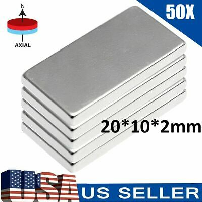50pcs N52 Neodymium Block Magnet 20x10x2mm Super Strong Rare Earth Magnets Lot