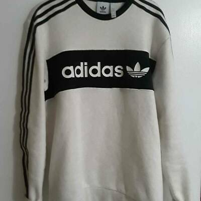 Adidas Mens Sweatshirt White Black Stripe Long Sleeve Crew Neck Spell out Logo L