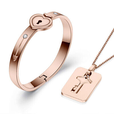 Stainless Steel Love Heart Lock Bracelet with Key Pendant Necklace Couple Set - Heart Lock Bracelet