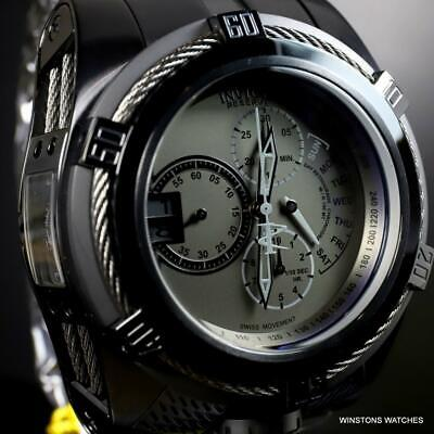 Invicta Reserve Bolt Zeus Tria Black Combat Steel Swiss 3 Dials 56mm Watch New