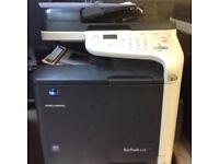 Konica Minolta bizhub printer has network print. and fax