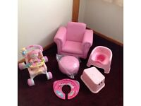 Girls bundle fisher price pushchair/walker with doll, armchair, potty, step, travel toilet adaptor