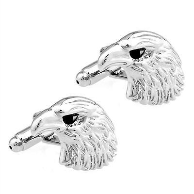 - BALD EAGLE HEAD CUFFLINKS Black Crystal Eye NEW w GIFT BAG Patriotic America USA