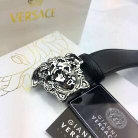 Chrome shiny silver classic medusa buckle mens leather belt versace boxed gift