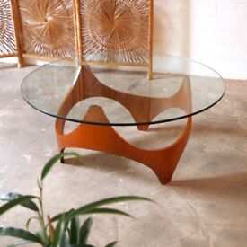 Mid Century Modern Henry P Glass Biomorphic Teak & Glass Coffee Table