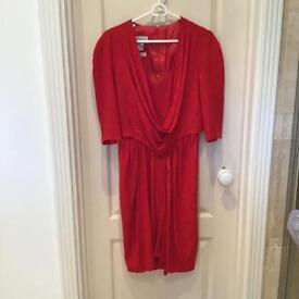 Bruce Oldfield Vintage Couture Red Silk Dress