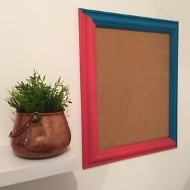 Upcycled Hand Painted Two Tone Neon Mirror/Picture Frame