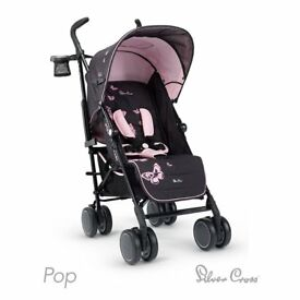 Silver Cross Pop Butterflies Pink&black Stroller Buggy(Umbrella Fold)
