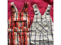 2 Pairs of Boys Dungarees 12-18 Months