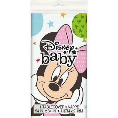 Minnie Mouse 1st Birthday Plastic Tablecover Baby Party Supplies New