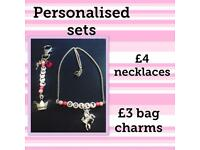 Personalised necklaces and bag charms