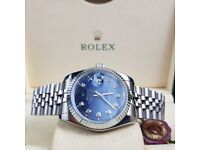 New Silver Rolex DateJust With Blue Face and Diamond Time stones Comes Rolex Boxed with Paperwork