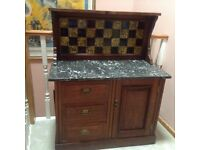Antique Victorian Mahogany Marble Top with Tiled Back Wash Stand