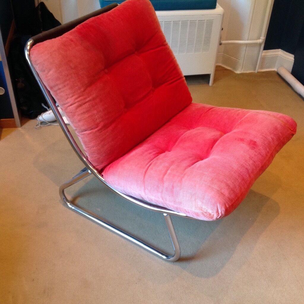 Habitat Chair Vintage 1980s In Red Cord Bedroom Or