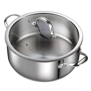 NEW Cooks Standard 7-Quart Classic Stainless Steel Dutch Oven Casserole Stockpot with Lid