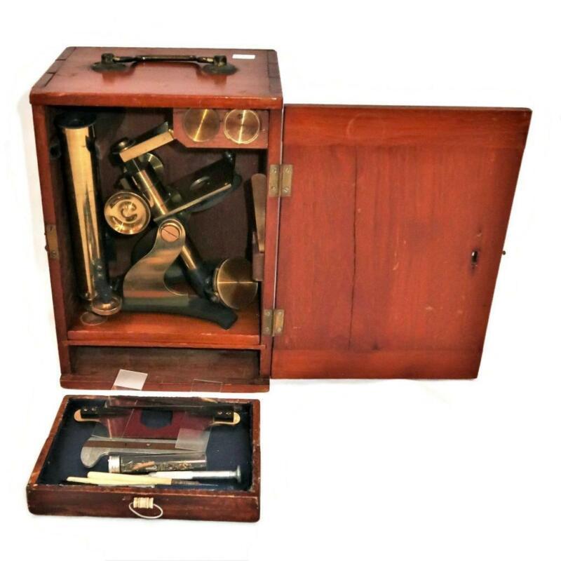 Vintage James J. Hicks, London, c1870s, Brass Monocular Microscope w/Box & Tools