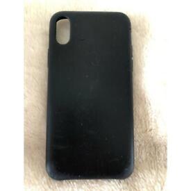 Apple iPhone X original black leather case.