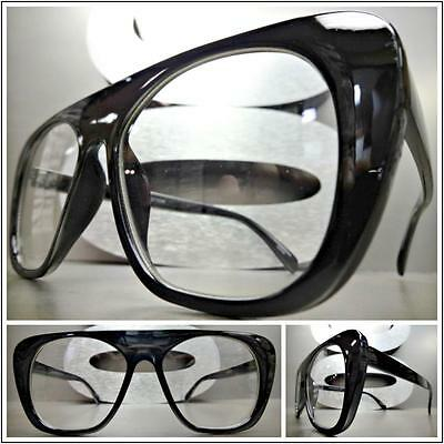 Mens or Women VINTAGE 70s RETRO Style Clear Lens EYE GLASSES Black Fashion Frame - 70s Mens Fashion