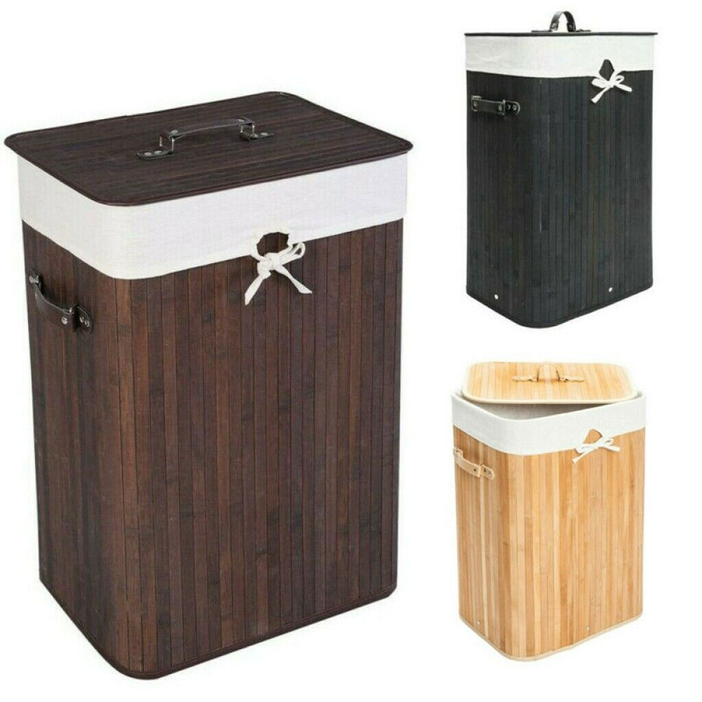 Bamboo Laundry Basket Clothes Hamper Storage Bin Bag Organiz