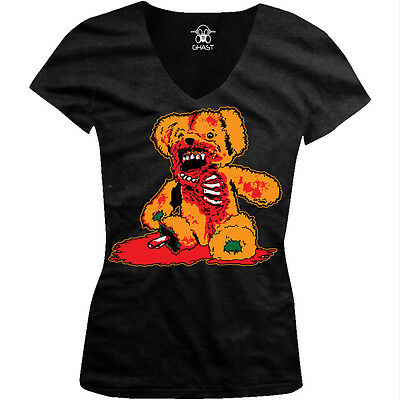 Zombie Teddy Bear- Halloween Scary Bloody Gory  Juniors V-neck - Scary Teddy Bear Halloween