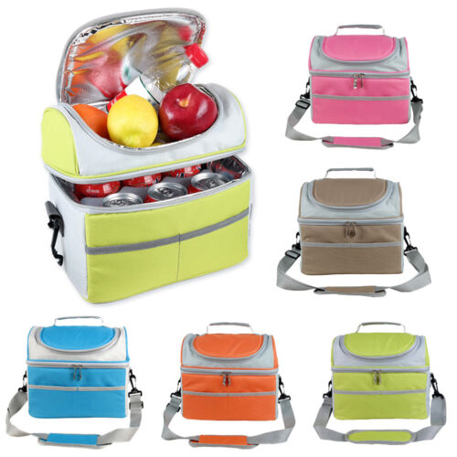 2-layer Large Insulated Lunch Bag Cooler Tote Lunch Box with