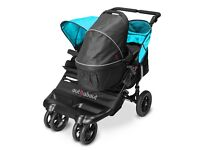 Out n about double pushchair and carrycot