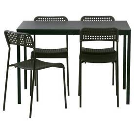 Table and 4 chairs MELLTORP/ADDE Black
