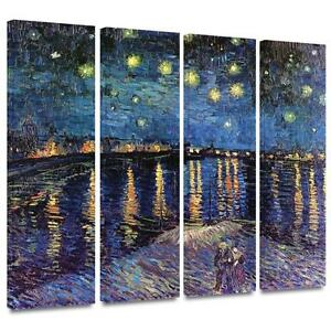 Art Wall 4-Piece Starry Night Over The Rhone Gallery Wrapped Canvas by Vincent Van Gogh, 12-Inch by 36-Inch