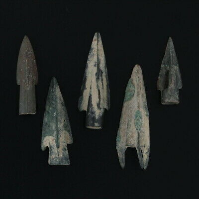 Ancient Weaponry Arrowheads Triblade Pyramid Trilobate Patinaed Lot of 5