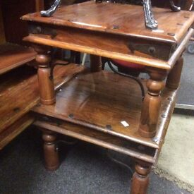 A pair of matching fruitwood side tables