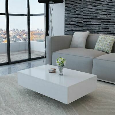 "vidaXL Coffee Table High Gloss White 33.5"" Accent Tea Side Living Room Stand"