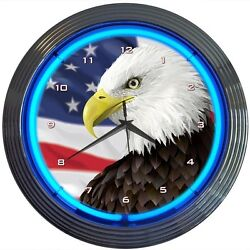 Eagle With American Flag Neon Clock 15x15